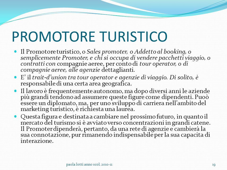 PROMOTORE TURISTICO