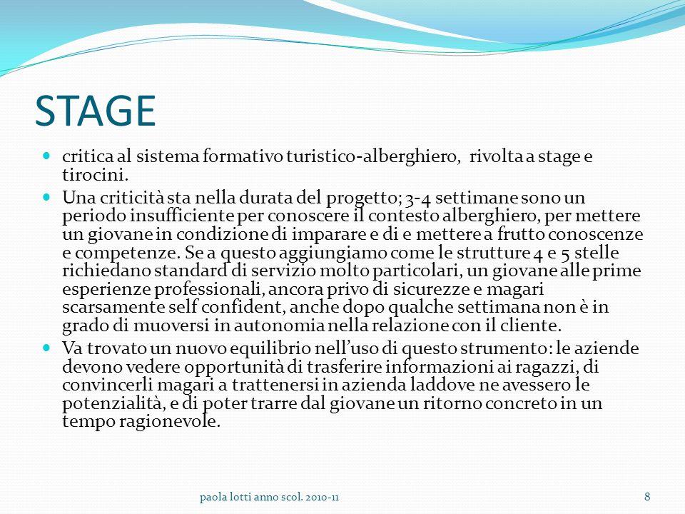STAGE critica al sistema formativo turistico-alberghiero, rivolta a stage e tirocini.