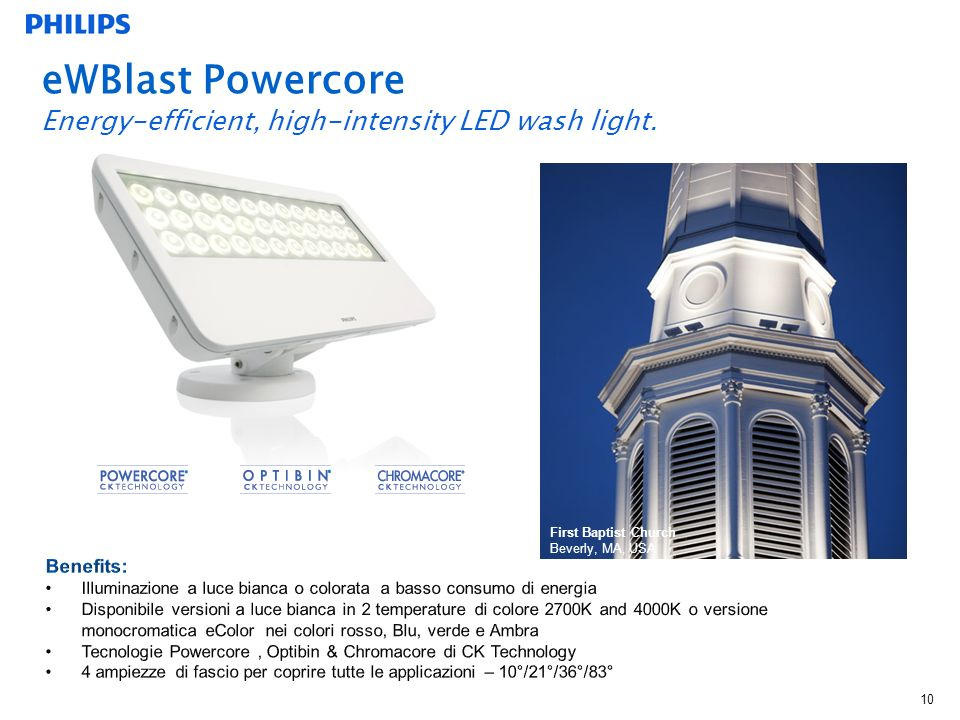 eWBlast Powercore Energy-efficient, high-intensity LED wash light.