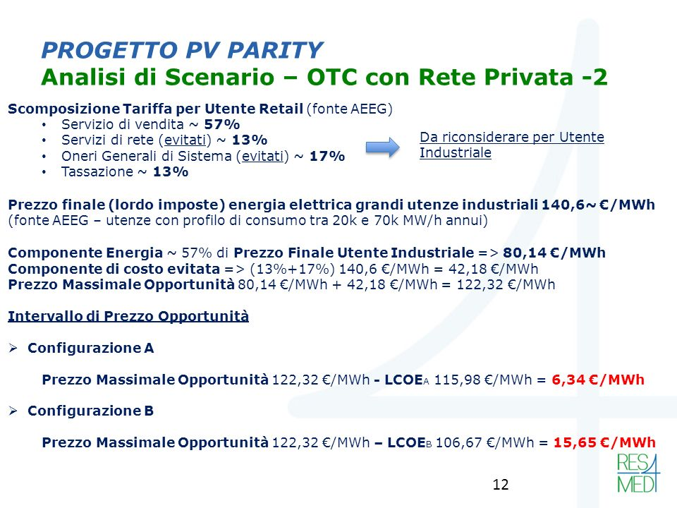 PROGETTO PV PARITY Analisi di Scenario – OTC con Rete Privata -2