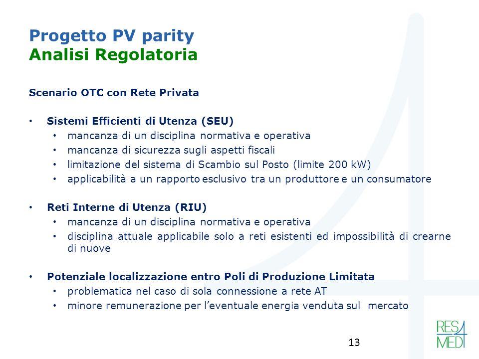 Progetto PV parity Analisi Regolatoria