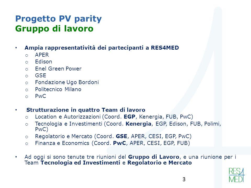 Progetto PV parity Gruppo di lavoro