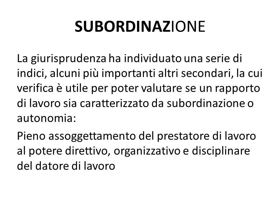 SUBORDINAZIONE