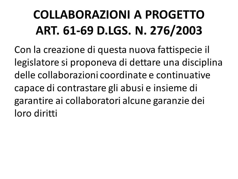 COLLABORAZIONI A PROGETTO ART. 61-69 D.LGS. N. 276/2003