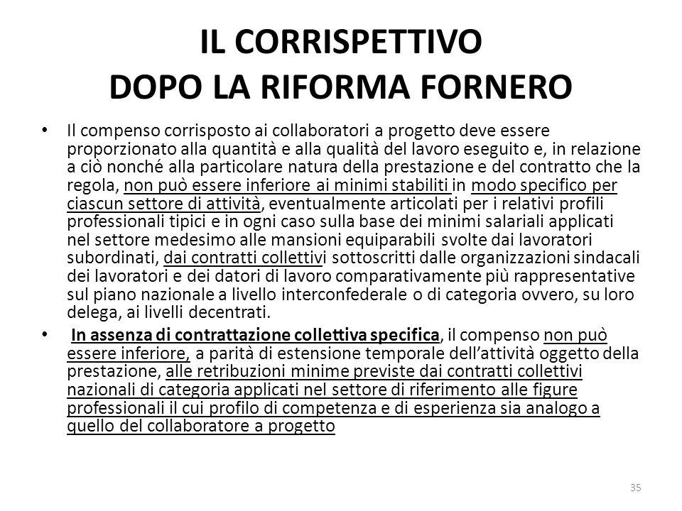 IL CORRISPETTIVO DOPO LA RIFORMA FORNERO