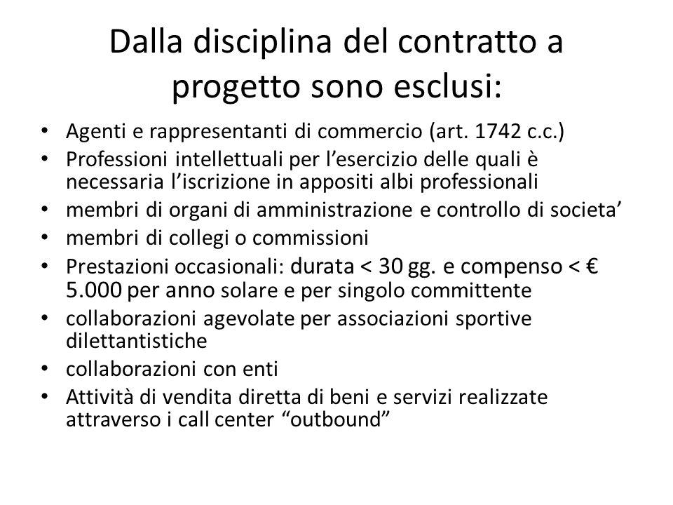Dalla disciplina del contratto a progetto sono esclusi: