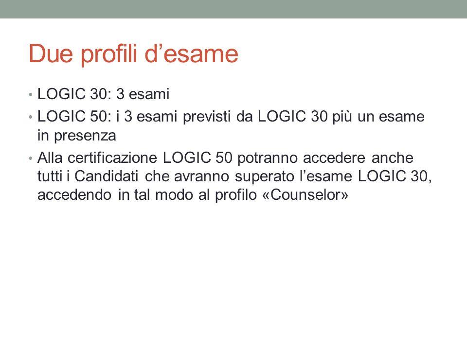 Due profili d'esame LOGIC 30: 3 esami