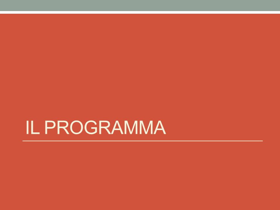 Il programma