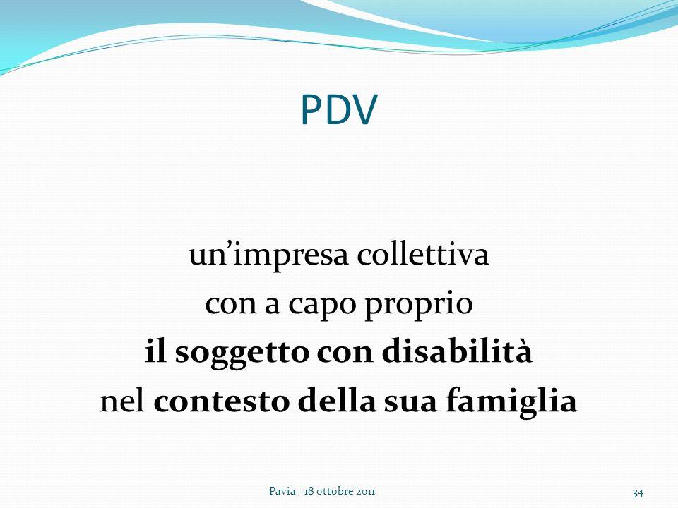 PDV un'impresa collettiva con a capo proprio il soggetto con disabilità nel contesto della sua famiglia
