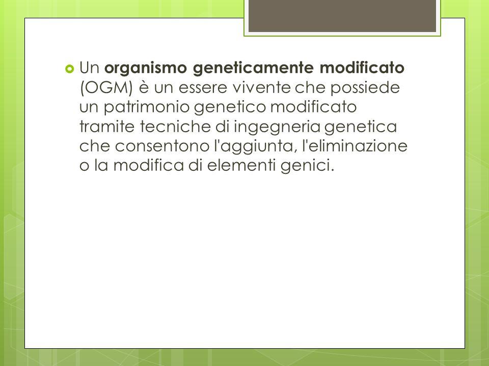 Un organismo geneticamente modificato (OGM) è un essere vivente che possiede un patrimonio genetico modificato tramite tecniche di ingegneria genetica che consentono l aggiunta, l eliminazione o la modifica di elementi genici.