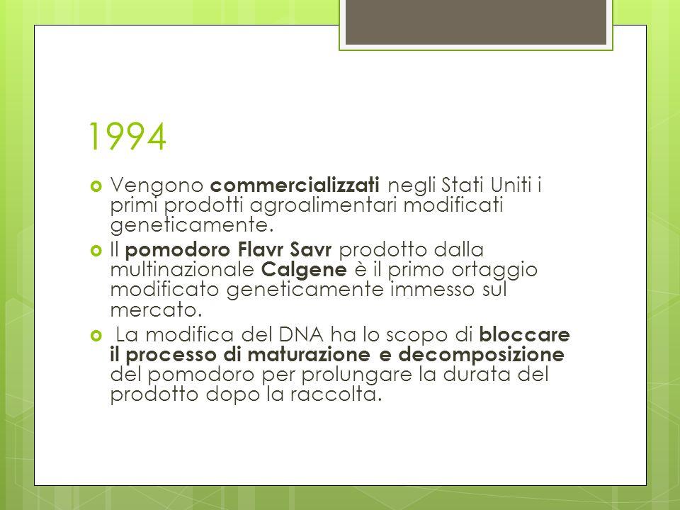 1994 Vengono commercializzati negli Stati Uniti i primi prodotti agroalimentari modificati geneticamente.
