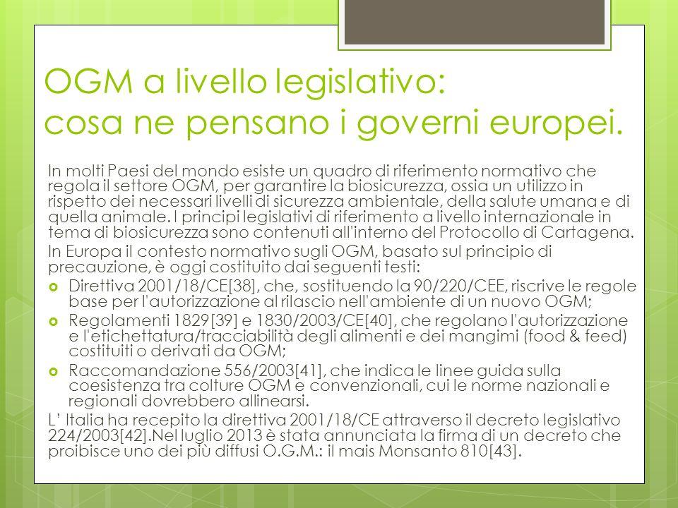 OGM a livello legislativo: cosa ne pensano i governi europei.