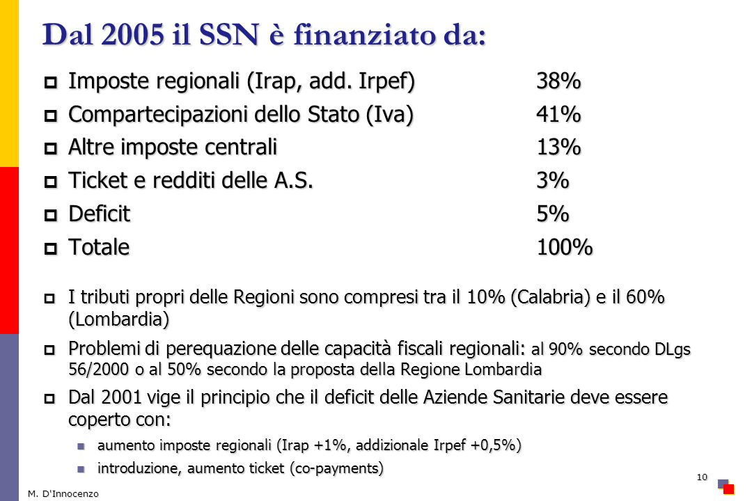 Dal 2005 il SSN è finanziato da: