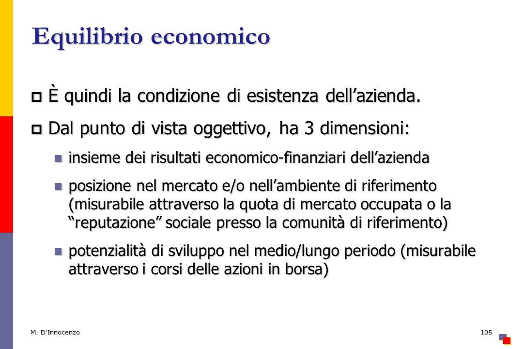 Equilibrio economico È quindi la condizione di esistenza dell'azienda.