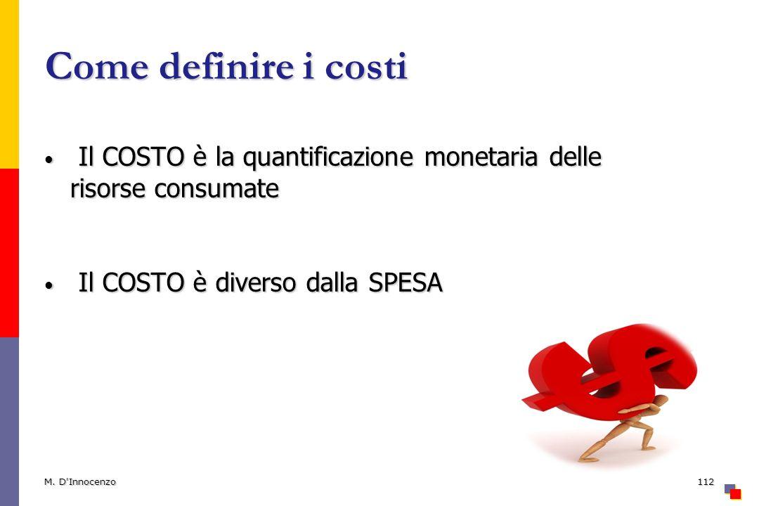 Come definire i costi Il COSTO è la quantificazione monetaria delle risorse consumate. Il COSTO è diverso dalla SPESA.