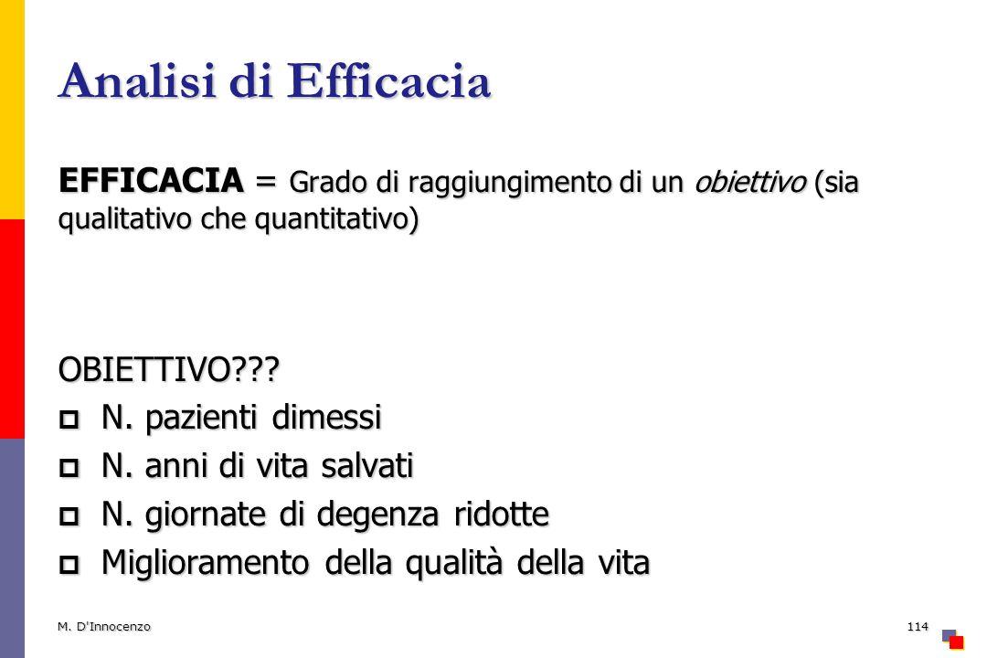 Analisi di Efficacia EFFICACIA = Grado di raggiungimento di un obiettivo (sia qualitativo che quantitativo)