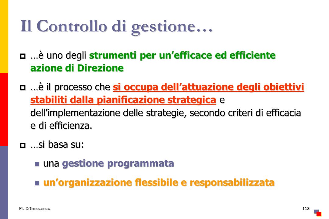 Il Controllo di gestione…