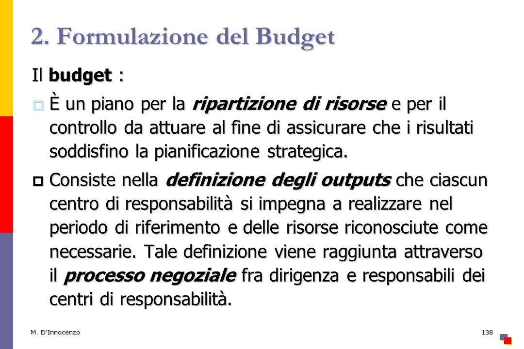 2. Formulazione del Budget