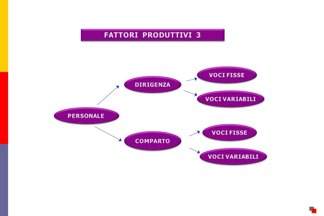 FATTORI PRODUTTIVI 3 VOCI FISSE DIRIGENZA VOCI VARIABILI PERSONALE