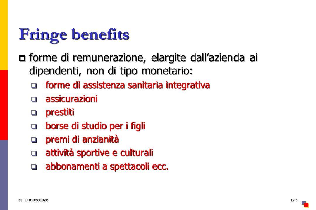 Fringe benefits forme di remunerazione, elargite dall'azienda ai dipendenti, non di tipo monetario: