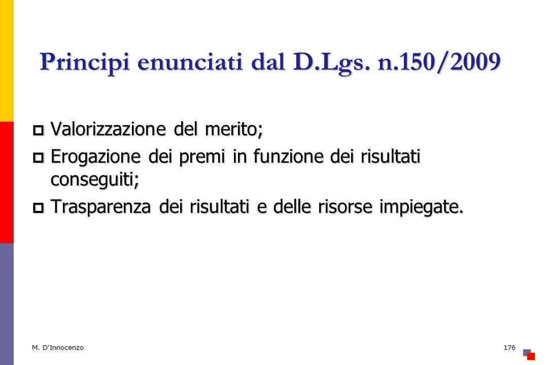 Principi enunciati dal D.Lgs. n.150/2009