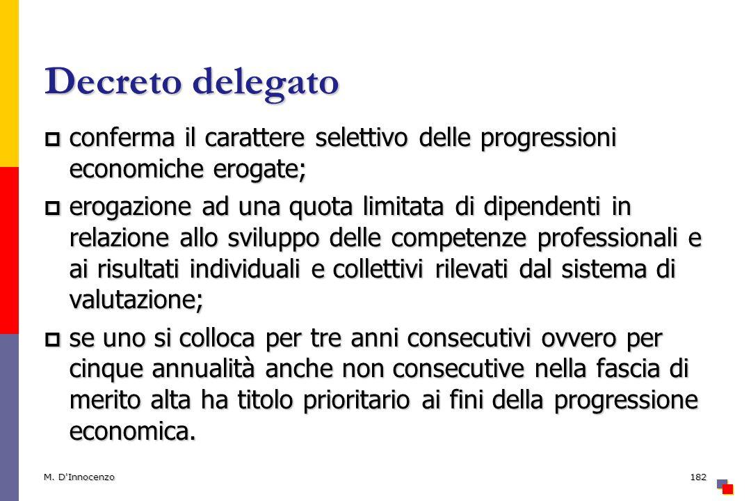 Decreto delegato conferma il carattere selettivo delle progressioni economiche erogate;