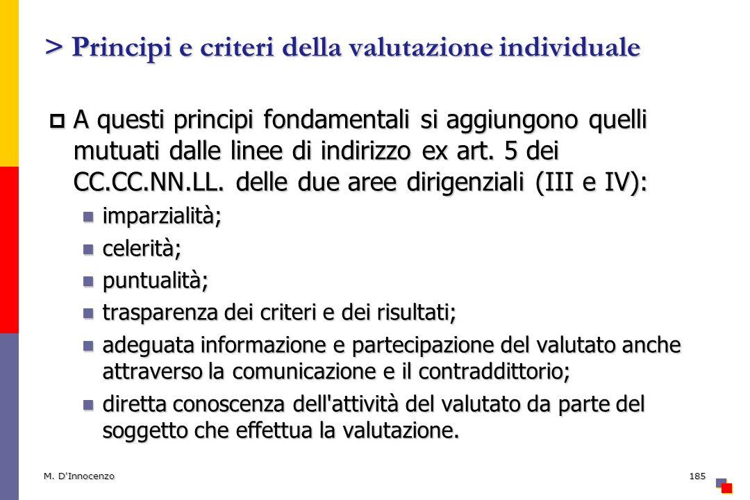> Principi e criteri della valutazione individuale