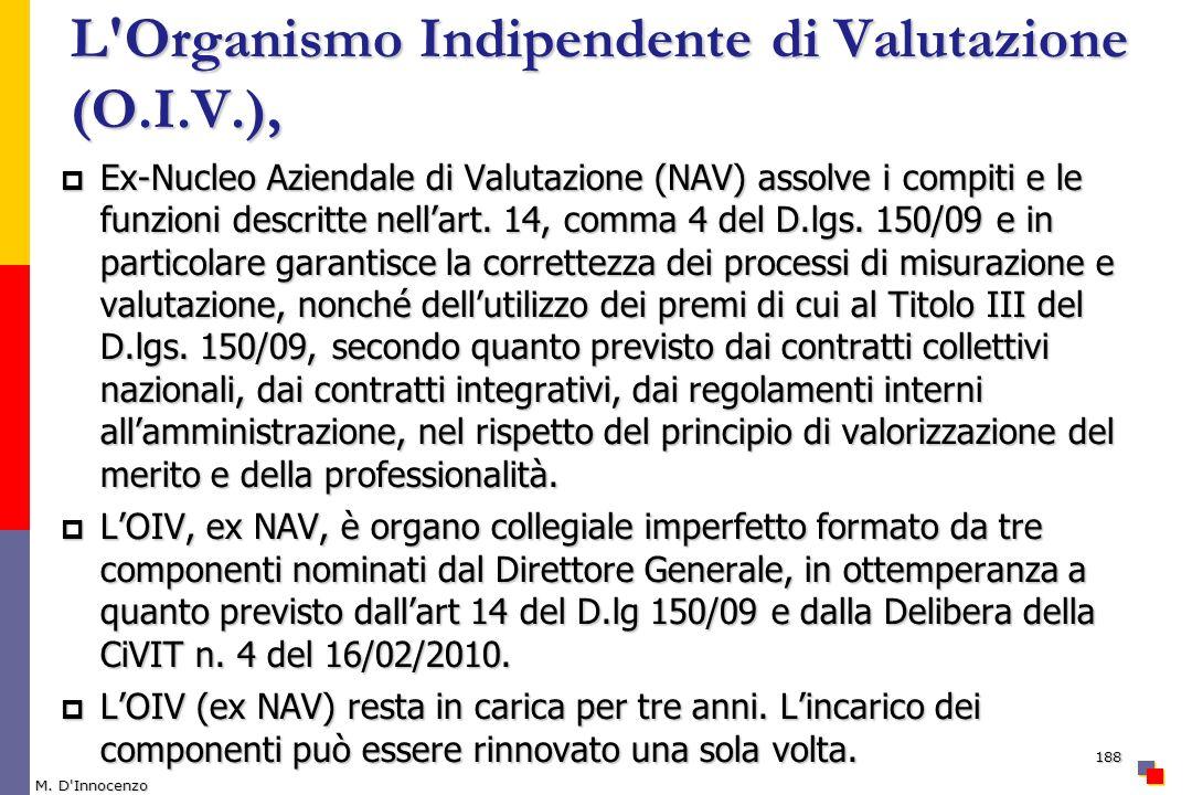 L Organismo Indipendente di Valutazione (O.I.V.),