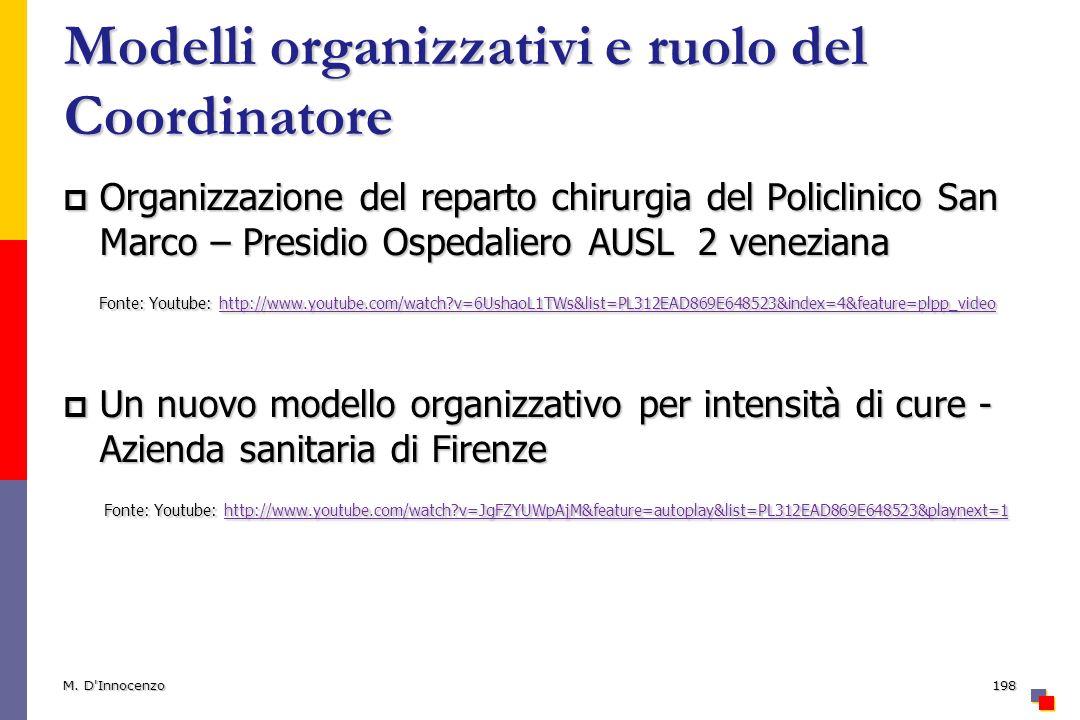 Modelli organizzativi e ruolo del Coordinatore
