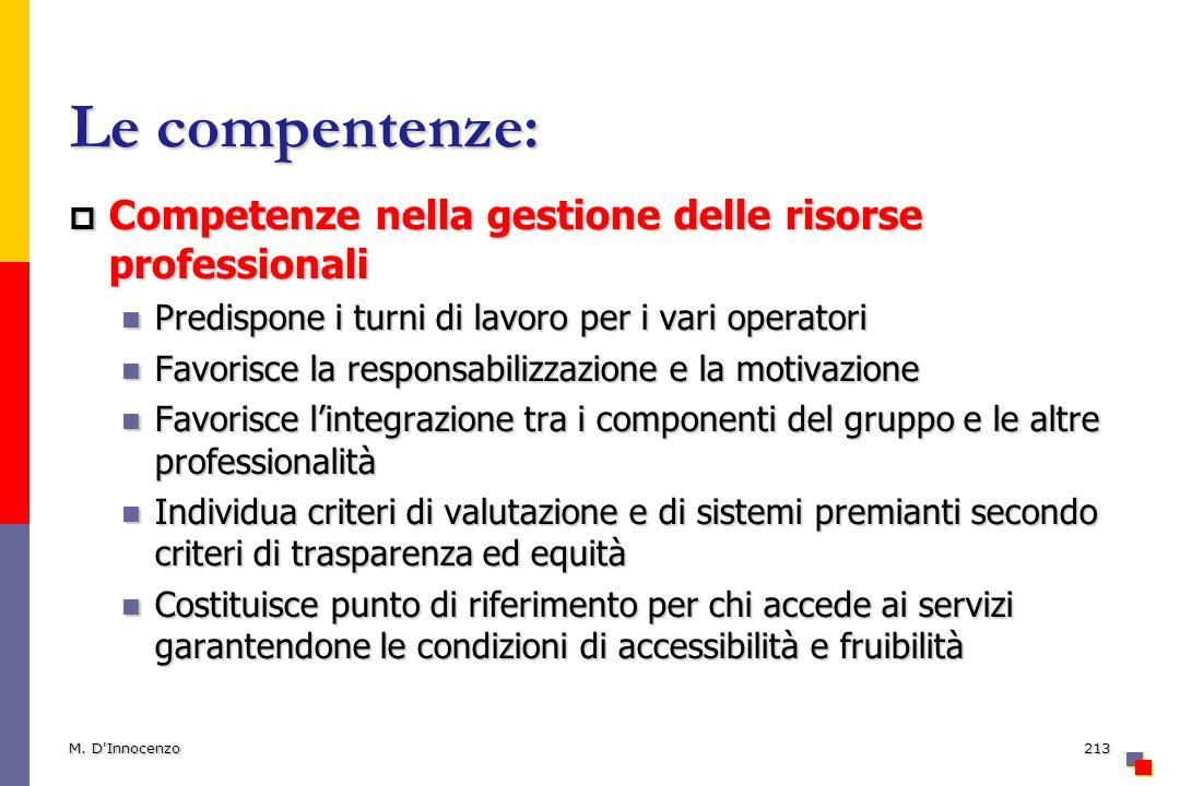 Le compentenze: Competenze nella gestione delle risorse professionali