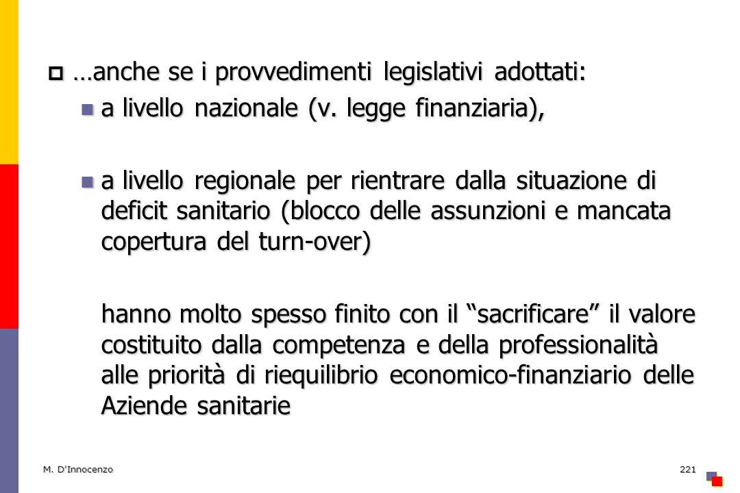 …anche se i provvedimenti legislativi adottati: