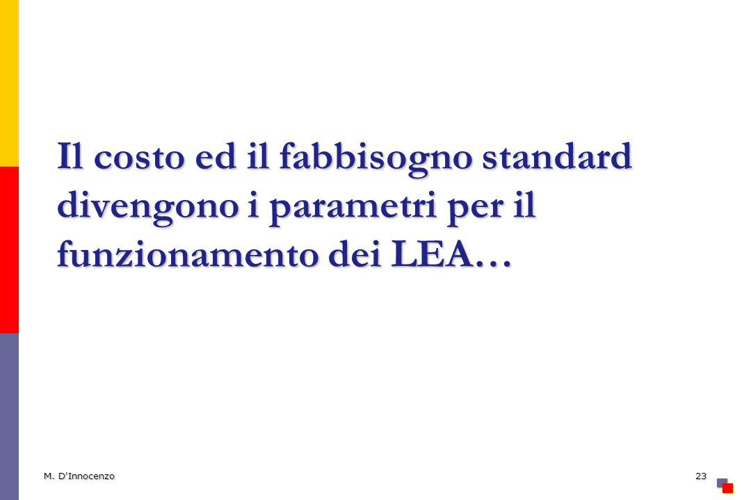Il costo ed il fabbisogno standard divengono i parametri per il funzionamento dei LEA…