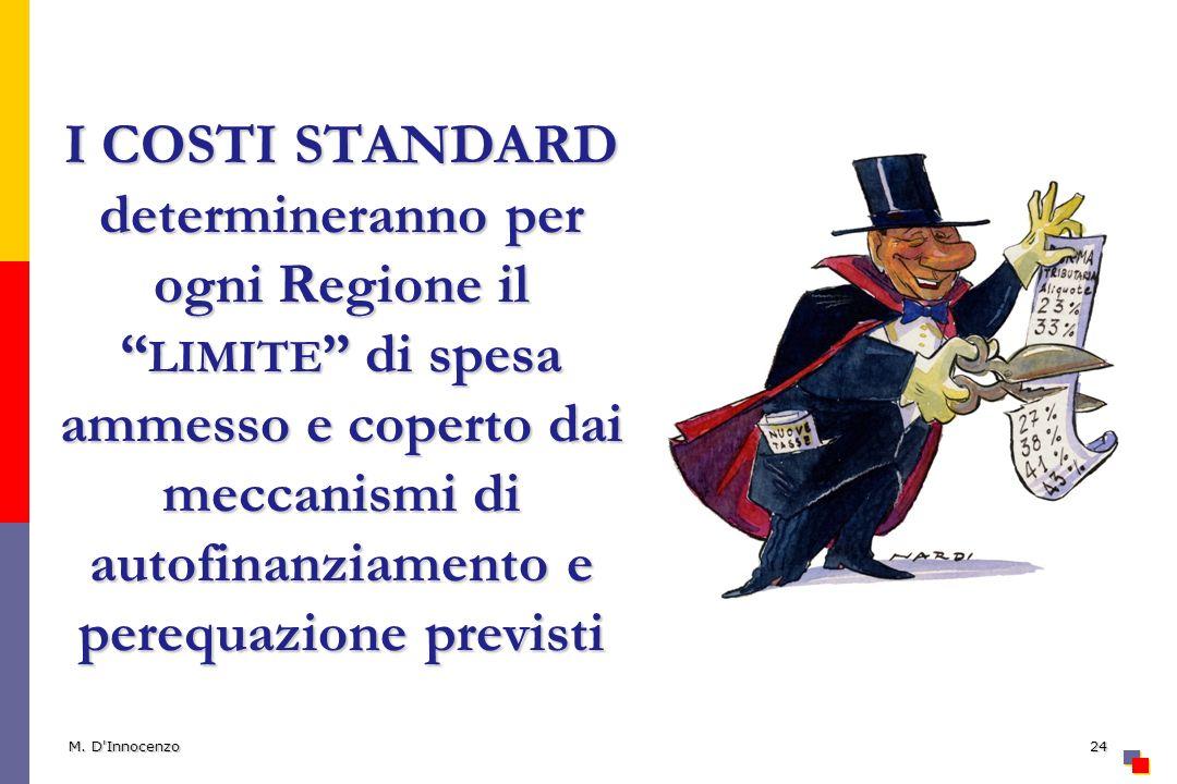 I COSTI STANDARD determineranno per ogni Regione il limite di spesa ammesso e coperto dai meccanismi di autofinanziamento e perequazione previsti