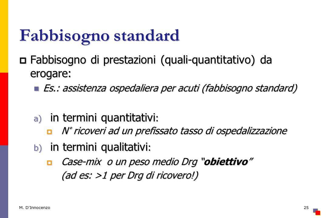 Fabbisogno standard Fabbisogno di prestazioni (quali-quantitativo) da erogare: Es.: assistenza ospedaliera per acuti (fabbisogno standard)