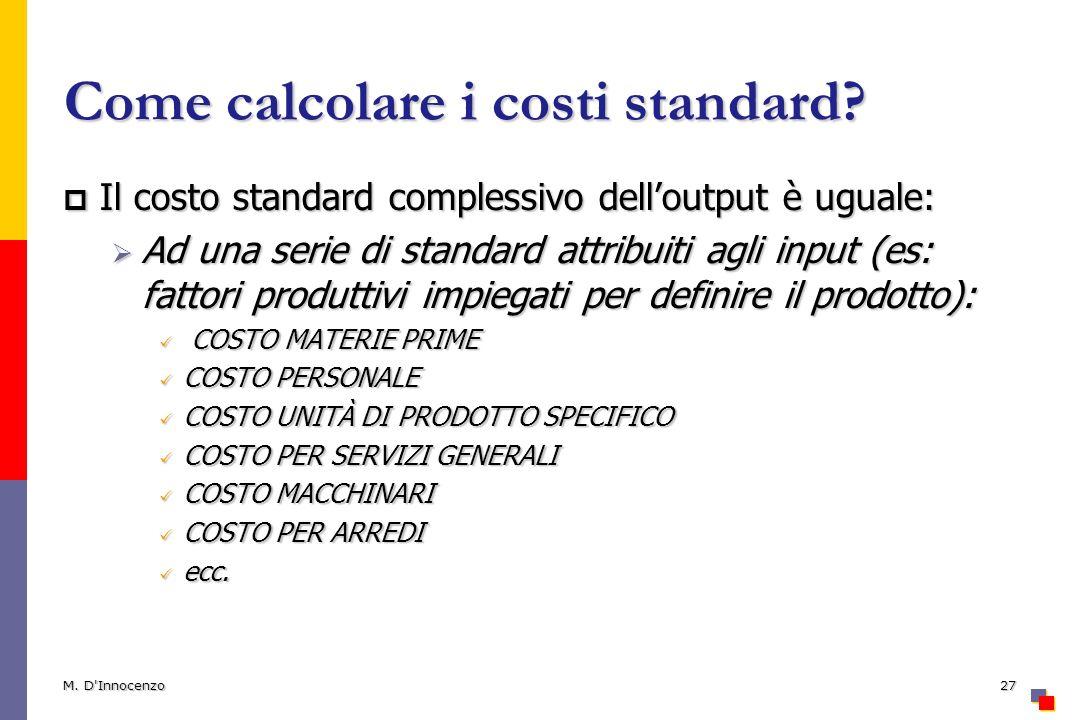 Come calcolare i costi standard
