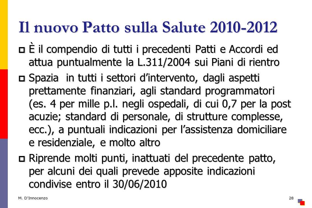 Il nuovo Patto sulla Salute 2010-2012