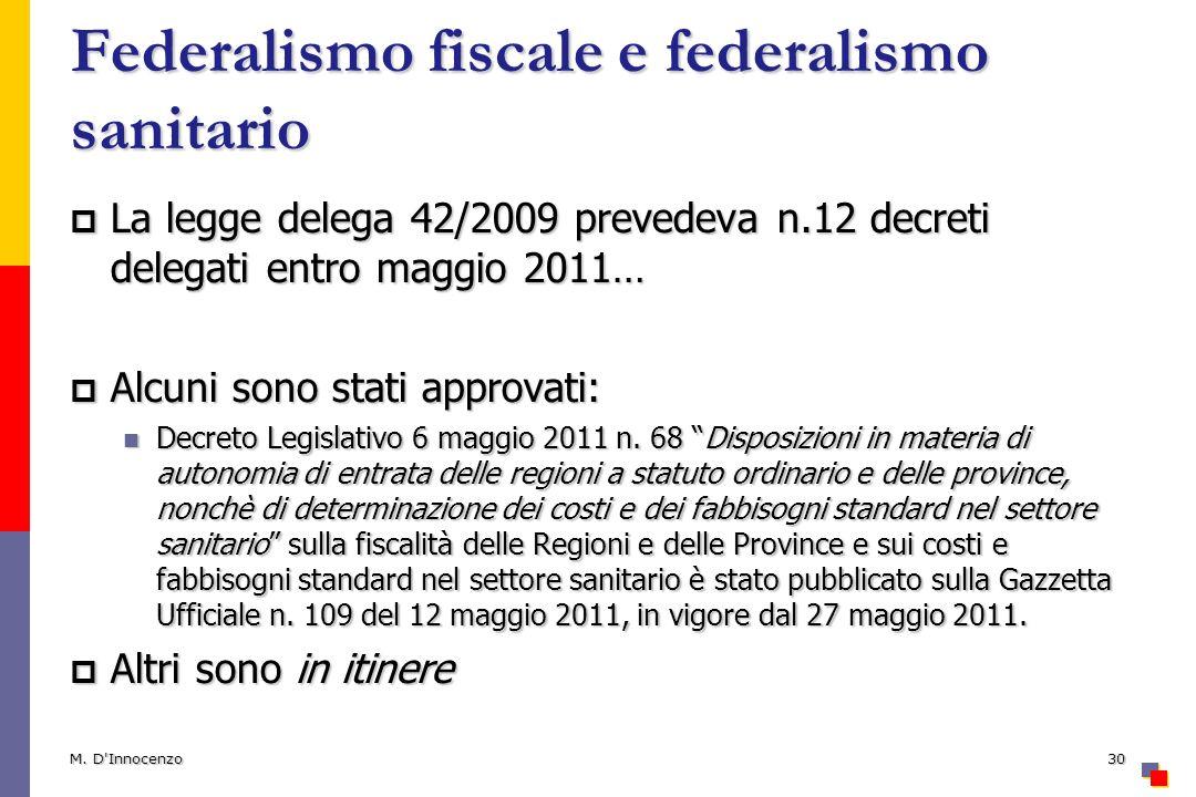 Federalismo fiscale e federalismo sanitario
