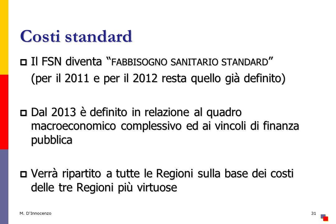 Costi standard Il FSN diventa fabbisogno sanitario standard