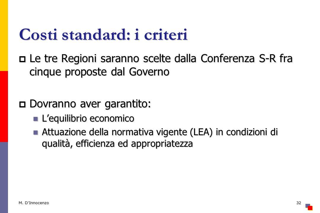 Costi standard: i criteri