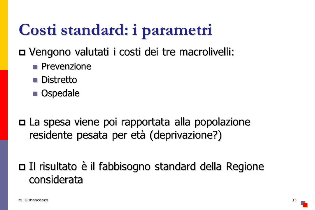 Costi standard: i parametri