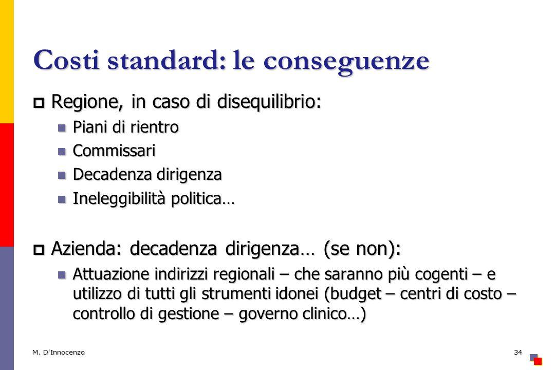 Costi standard: le conseguenze
