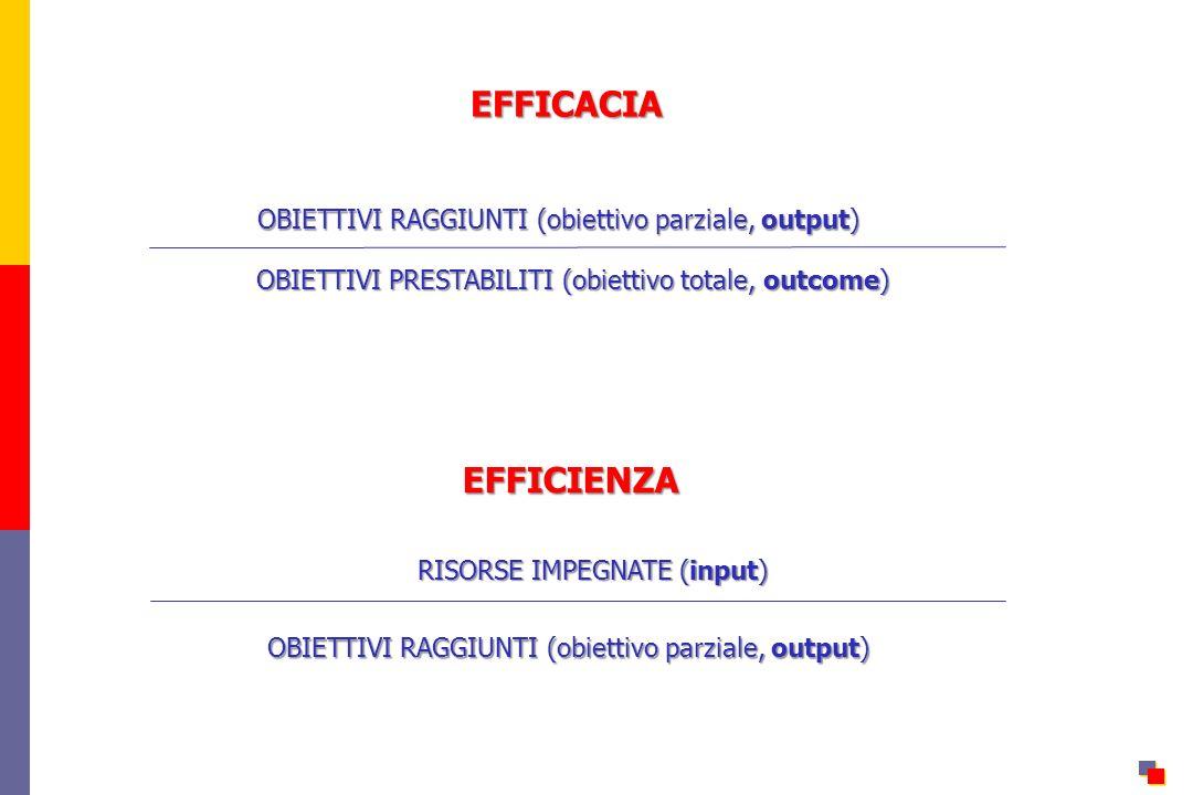 EFFICACIA EFFICIENZA OBIETTIVI RAGGIUNTI (obiettivo parziale, output)