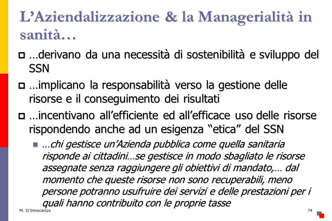 L'Aziendalizzazione & la Managerialità in sanità…