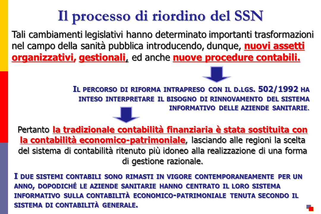 Il processo di riordino del SSN