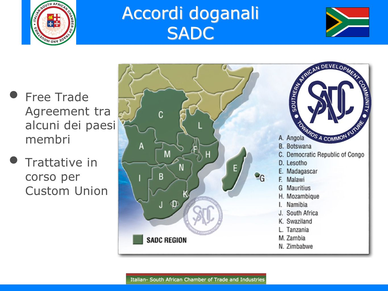 Accordi doganali SADC Free Trade Agreement tra alcuni dei paesi membri