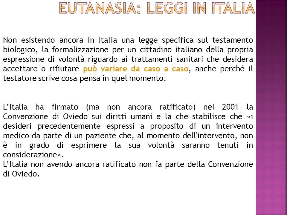 EUTANASIA: leggi in itALia