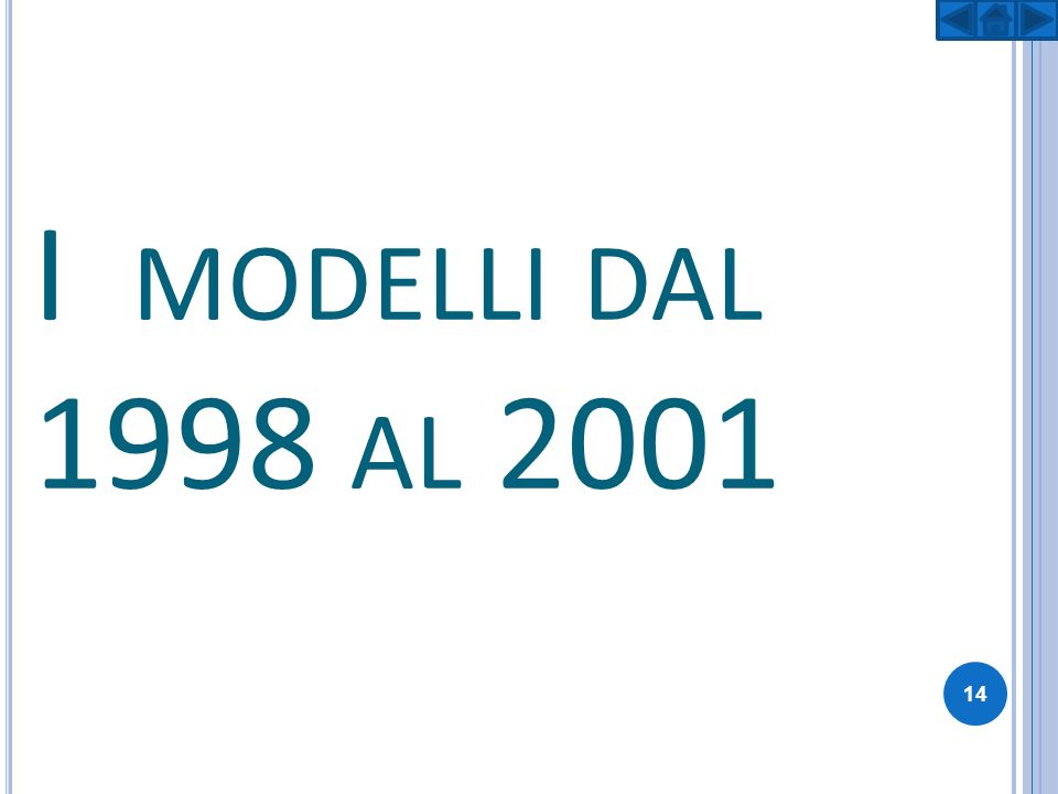 I modelli dal 1998 al 2001