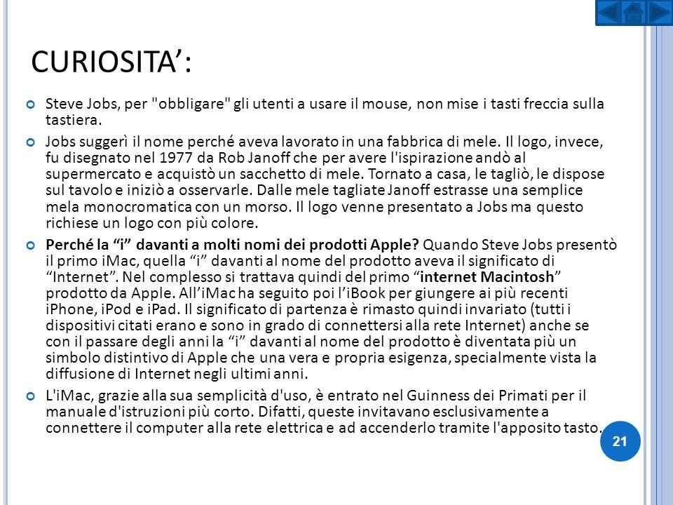 CURIOSITA': Steve Jobs, per obbligare gli utenti a usare il mouse, non mise i tasti freccia sulla tastiera.