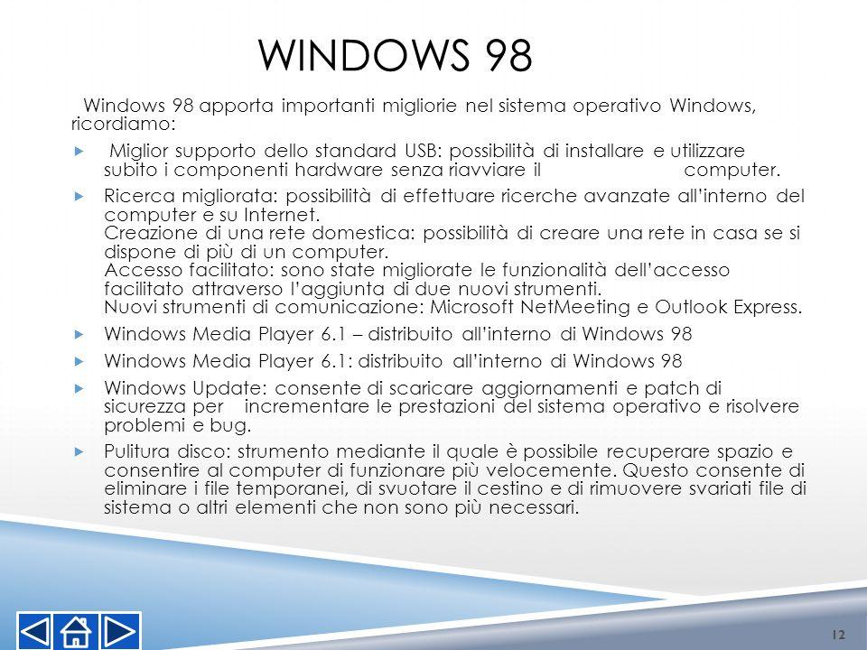 Windows 98Windows 98 apporta importanti migliorie nel sistema operativo Windows, ricordiamo:
