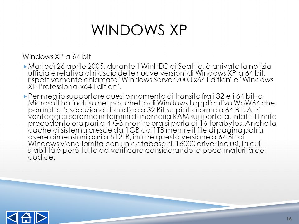 Windows XP Windows XP a 64 bit